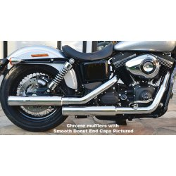 Slip On Mufflers E3 Smooth, Donut End Cap Showchrome