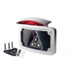 Chrome Hot-Shot Curved License Plate Mount with LED Taillight