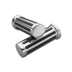 Chrome & Rubber Grooved Handlebar Grips