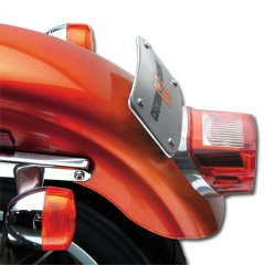 Curved Lay-Down License Plate Bracket, Chrome
