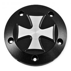 "Point Cover ""Iron Cross"" 5-trous,noir, pour Twin Cam"