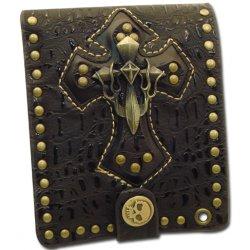 Skull Cross Bifold Brown Wallet