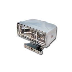 Square Headlight, chrome Housing with Clear Glas, H3 12V/55W bulbs