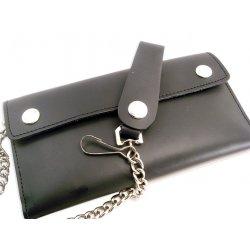 Portefeuille trois volets en cuir noir avec chaine extra longue