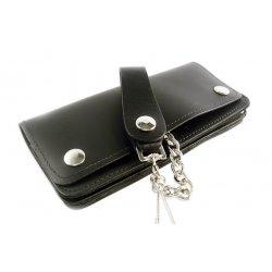 Portefeuille cuir noir Biker avec Chaine Extra Longue