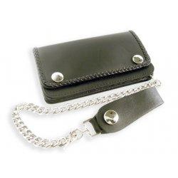 Portefeuille cuir noir Biker avec Chaine et bords tressés