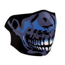 Demi-masque, Neoprene, Blue Chrome Skull