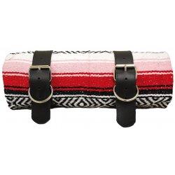 Couverture Mexicaine Rouge Serape avec 2 sangles en cuir et 2 boucles inox