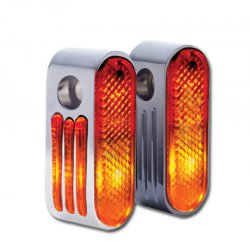 "Marker Lights, chrome with red lens, single bulb and 3/8"" mounting hole"