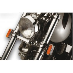Marker Lights, chrome with amber lens and single bulb incl. 41mm fork mounts
