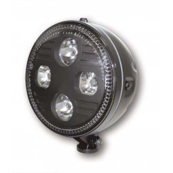 "ATLANTA 5-3/4"" LED-headlight, bottom mount, black housing"